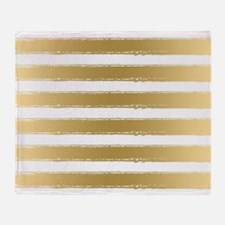 Grungy Gold And White Stripes Patter Throw Blanket