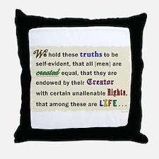 Declaration of Life Throw Pillow