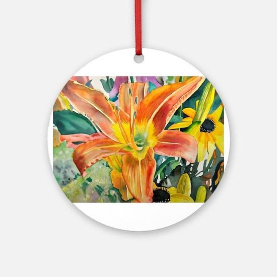 Tiger Lily Original Watercolor Round Ornament