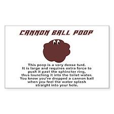 ADULT HUMOR CANNON BALL SHIRT Sticker (Rectangular