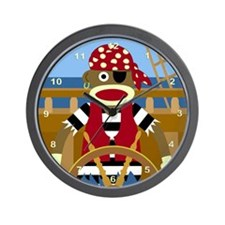Sock Monkey Pirate Wall Clock