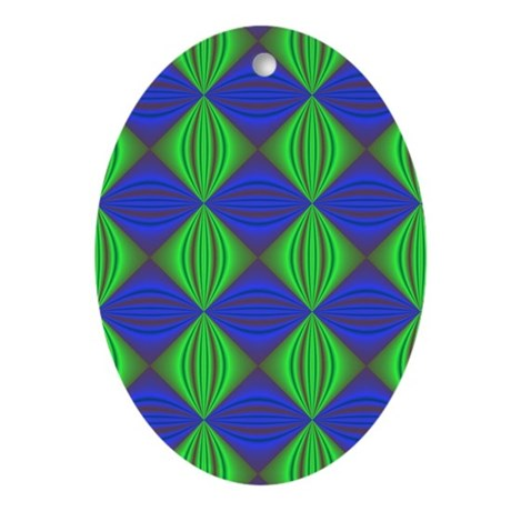 Dad's Tie Fractal Oval Ornament