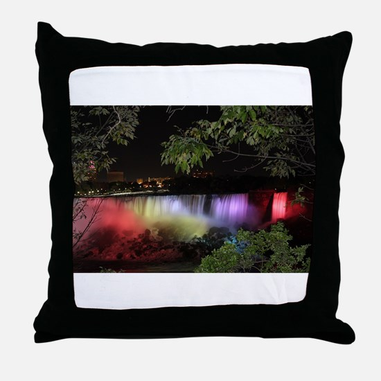 American Falls at night Throw Pillow