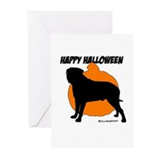 Bullmastiff Halloween Pumpkin Greeting Cards (Pk o