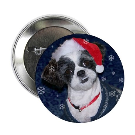 Shih Tzu Santa Button
