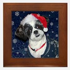 Shih Tzu Santa Framed Tile