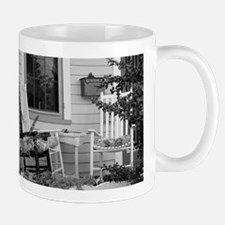 Porch Chairs - black and white Mugs