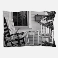 Porch Chairs - black and white Pillow Case