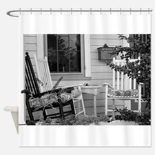 Porch Chairs - black and white Shower Curtain