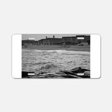 Cape May Beach - black and white Aluminum License