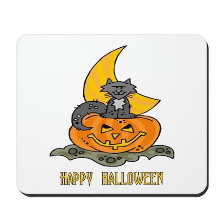 Kitten, Pumpkin, Moon Mousepad