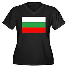 Bulgaria Women's Plus Size V-Neck Dark T-Shirt