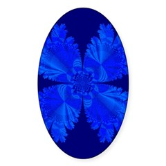 Blue Flower Fractal Oval Decal