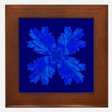 Blue Flower Fractal Framed Tile