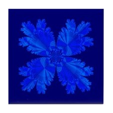 Blue Flower Fractal Tile Coaster