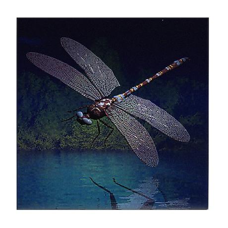 Dragonfly at Night Tile Coaster