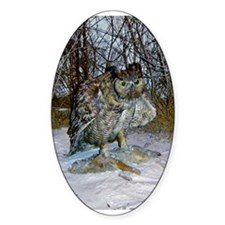 horned owl Oval Decal