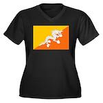 Bhutan Women's Plus Size V-Neck Dark T-Shirt