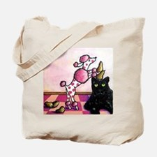 Pink Polka-dots Poodle... Tote Bag