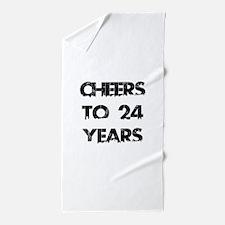 Cheers To 24 Years Designs Beach Towel