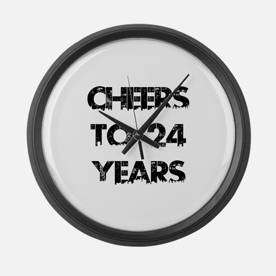 Cheers To 24 Years Designs Large Wall Clock