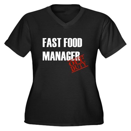 Off Duty Fast Food Manager Women's Plus Size V-Nec