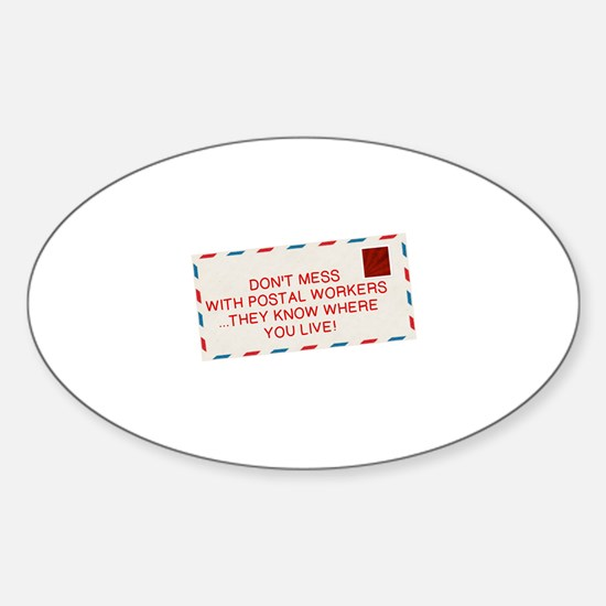 Cute Postal Sticker (Oval)