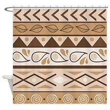 Tribal Tan Pattern Shower Curtain