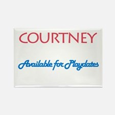 Courtney - Available For Play Rectangle Magnet (10
