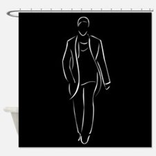 male model on fashion show Shower Curtain