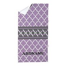 Moroccan Purple Gray Personalized Beach Towel