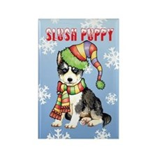 Holiday Husky Rectangle Magnet