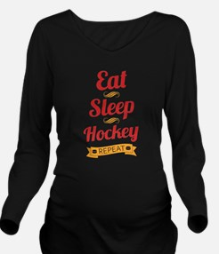 Eat, Sleep, Hockey, Repeat Long Sleeve Maternity T