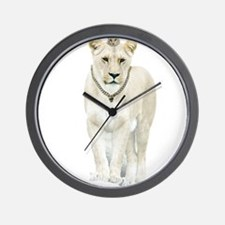 White Lioness Wall Clock