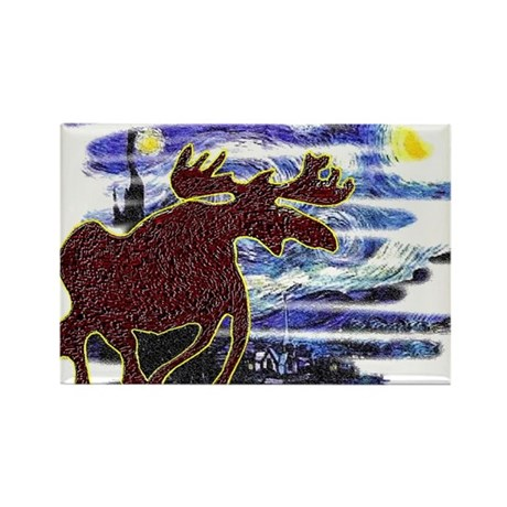 Starry Starry Moose Rectangle Magnet