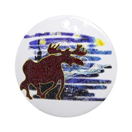 Starry Starry Moose Ornament (Round)