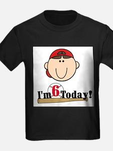 Baseball 6th Birthday(brown) T-Shirt