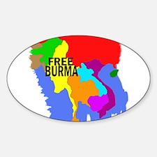 Burma Map Oval Decal