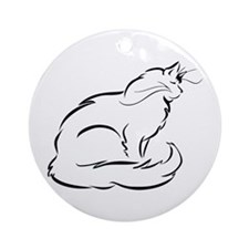 Peaceful Longhaired Cat Ornament (Round)