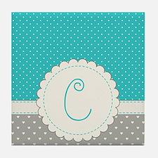 Cute Monogram Letter C Tile Coaster