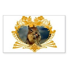 Squirrely Squirrel Crest Rectangle Decal