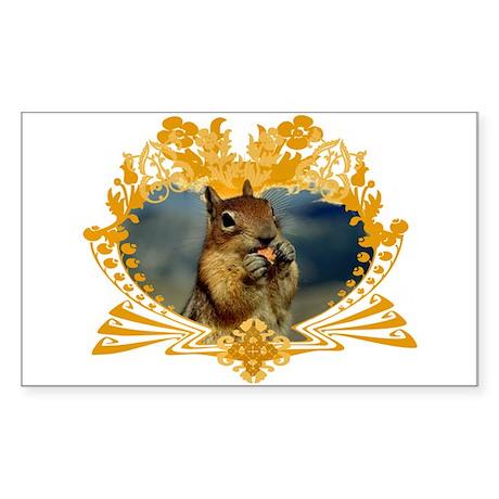 Squirrely Squirrel Crest Rectangle Sticker