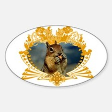 Squirrely Squirrel Crest Oval Decal