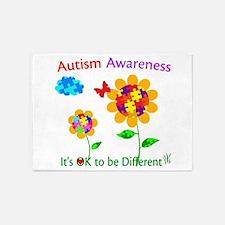 Autism Awareness Sunflower 5'x7'Area Rug