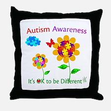 Autism Awareness Sunflower Throw Pillow