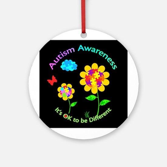 Autism Awareness Sunflower Round Ornament