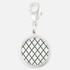 Moroccan Quatrefoil Pattern: P Silver Round Charm