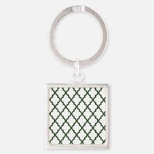 Green, Pine: Quatrefoil Moroccan P Square Keychain