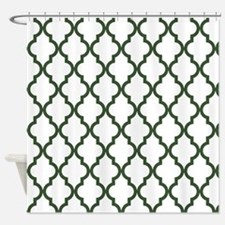 Green, Pine: Quatrefoil Moroccan Pa Shower Curtain