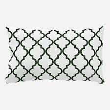 Green, Pine: Quatrefoil Moroccan Patte Pillow Case